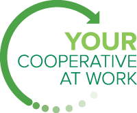 "Graphic with text saying, ""your cooperative at work."""