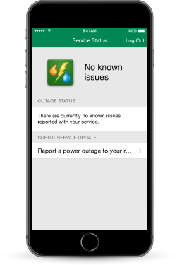 Photo indicating to use the MyOzarks app to report an outage.